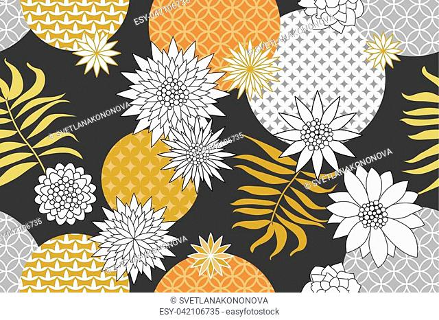 Abstract white flowers and palm leaves on grey background. Oriental textile collection