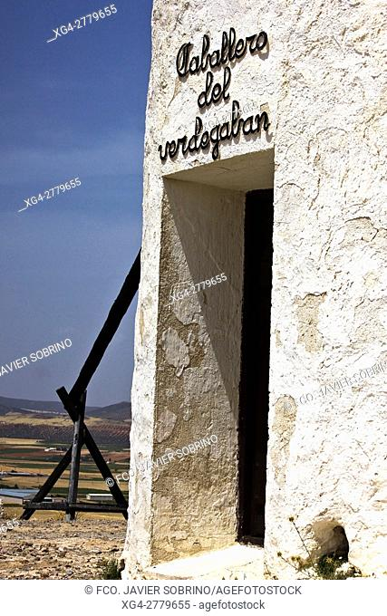 Detalle de un molino de viento. Cerro Calderico. Consuegra. Toledo. Castilla-La Mancha. España. Europa