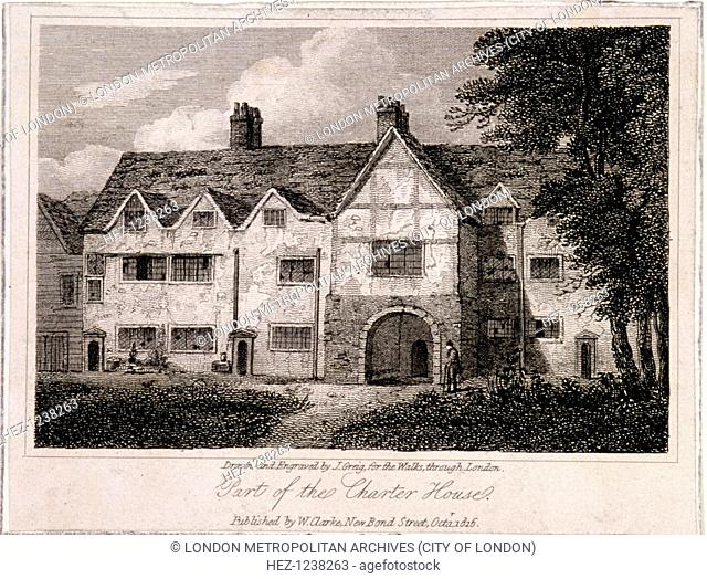 View of part of the Charterhouse, Finsbury, London, 1816. Entrance gate to the school in one of the older buildings