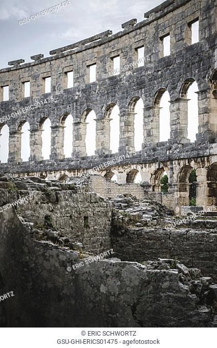 Ruins of Ancient Roman Amphitheatre in Pula, Croatia