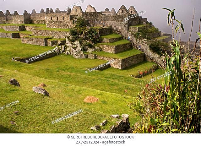 Inside the archaeological complex of Machu Picchu. Machu Picchu is a city located high in the Andes Mountains in modern Peru