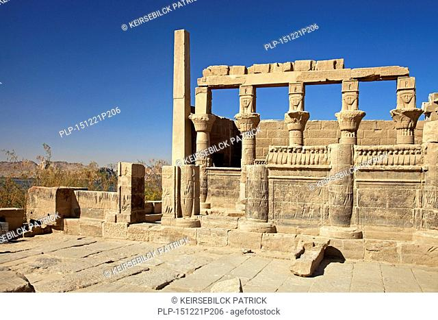 Temple of Hathor, part of the Isis / Philae Temple complex on Agilkia / Agilika Island in the reservoir of the Old Aswan Dam along the Nile River in southern...