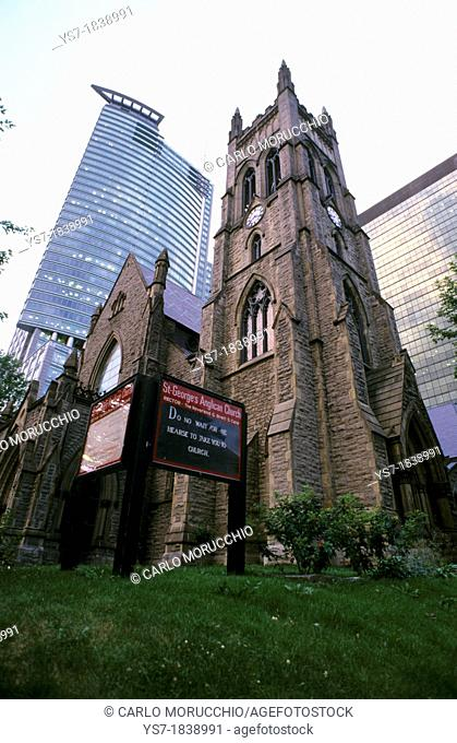 Skyscraper and church in Montreal downtown, Quebec, Canada, North America