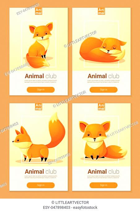 Animal banner with Foxes for web design , vector , illustration