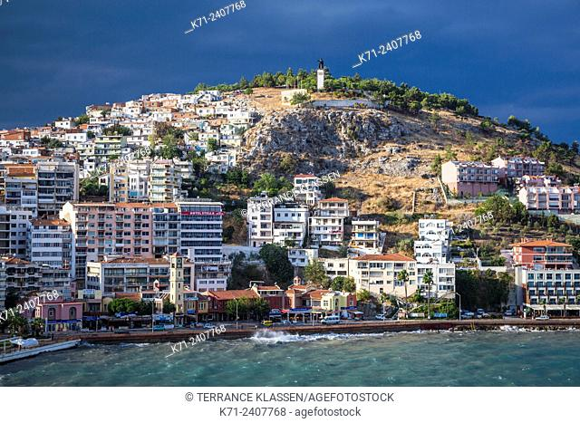 A hillside of homes and hotels in Kusadasi, Turkey, Eurasia