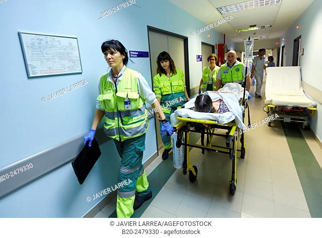 Patient transfer stretcher, Emergency room, Hospital Donostia, San Sebastian, Gipuzkoa, Basque Country, Spain