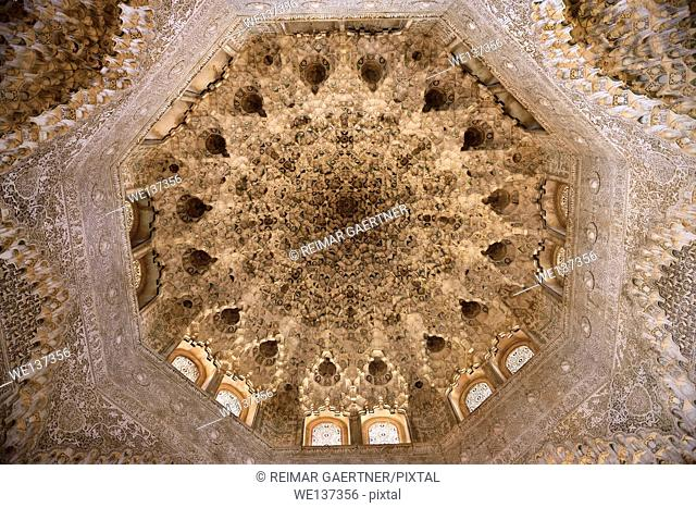 Ceiling of the Hall of the Two Sisters in the Nasrid Palaces of Alhambra Granada Spain