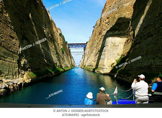 Tourist boat crossing the Corinth Canal, Greece