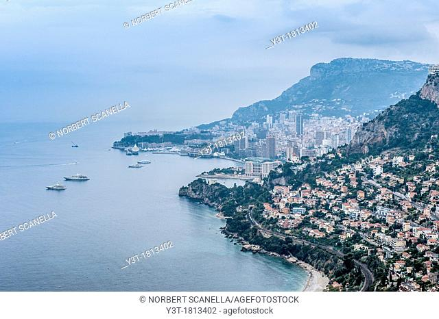 Principality of Monaco, Monte Carlo. Bay of Monaco in the early morning