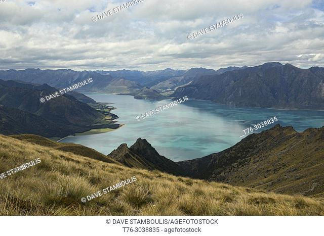 Azure Lake Hawea seen from the Isthmus Peak Track near Wanaka, Otago, New Zealand