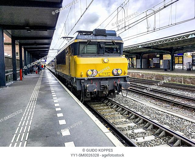 Deventer, Netherlands. Arriving International Train from Amsterdam to Berlin HaubtBahnHof at Deverter's Railroad Station