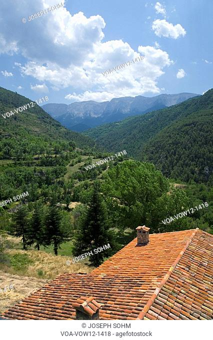 Red roof tiles in Pyrenees Mountains, near La Seu d'Urgell, Cataluna, and Ansovell, province of Lleida, off N-260 Road, Spain, Europe