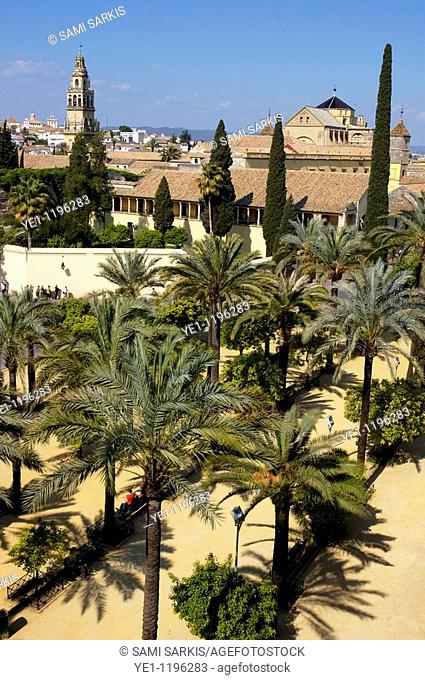 View of the city and Cathedral of Cordoba from the Alcazar of the Christian Monarchs, Cordoba, Andalusia, Spain