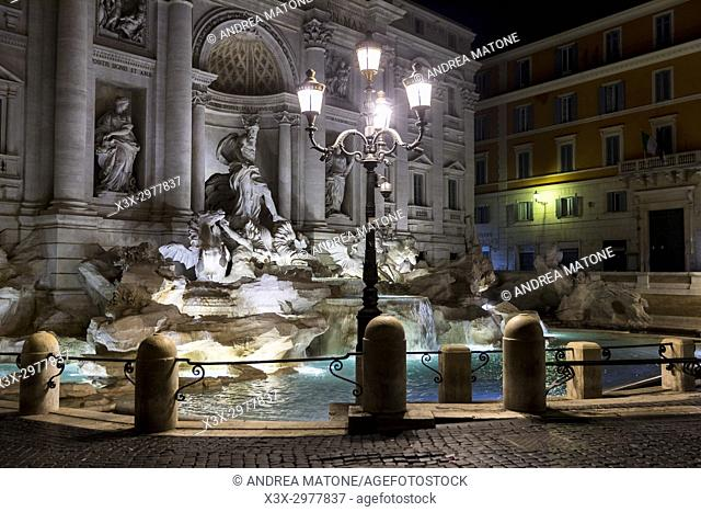 Fontana di Trevi fountain at night Rome Italy