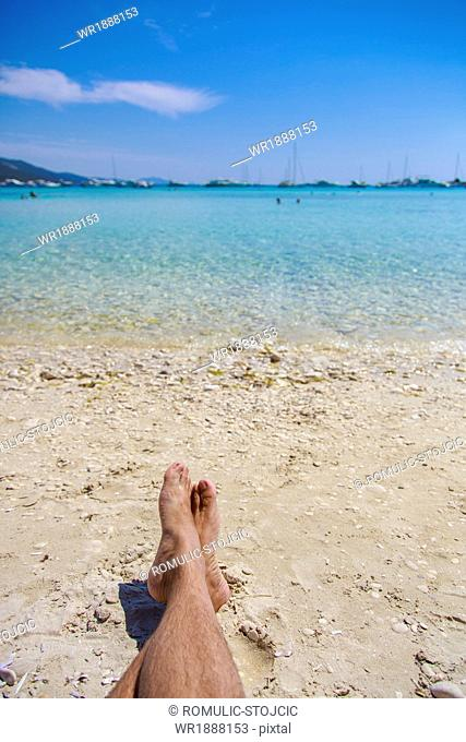 Human Feet On The Beach, Dugi Otok, Dalmatia, Croatia, Europe