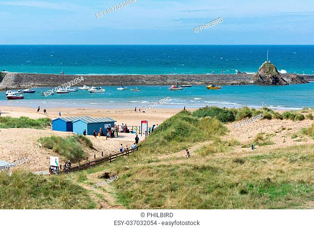 Beach and harbour in Bude in Cornwall