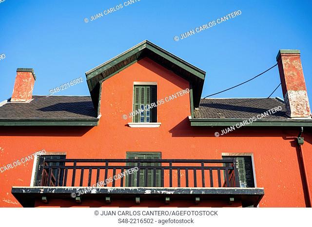 Detail of facade on the Paseo de Las Arenas. Getxo. Vizcaya. Basque Country. Spain. Europe