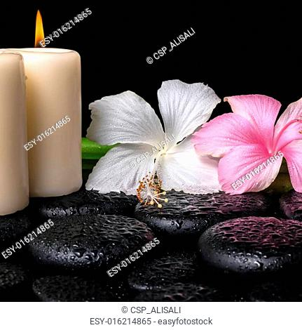 spa concept of white, pink hibiscus flowers, candles and natural