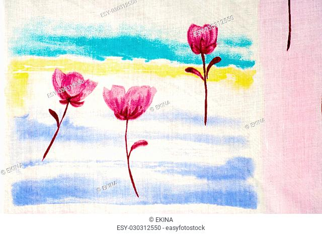 Cotton Fabric texture with red flowers. Photography Studio