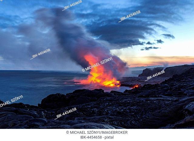 Lava entering ocean, Kalapana, Hawai'i Volcanoes National Park, Big Island, Hawai'i, USA