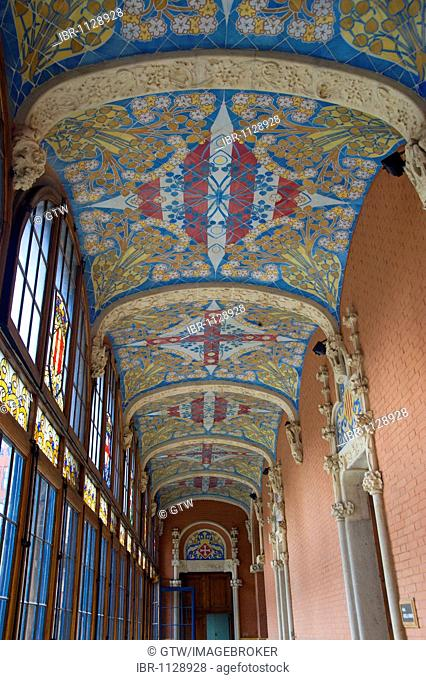 Corridor with painted ceiling, Hospital de la Santa Creu i Sant Pau, Unesco World Heritage Site, architect Luis Doménech y Montaner, Eixample District