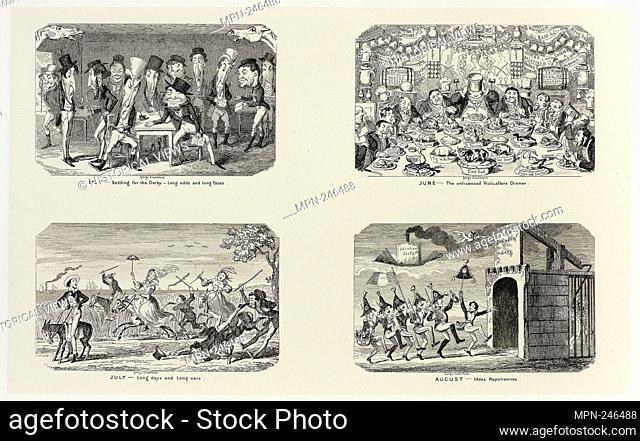 May - Settling for the Derby - Long Odds and Long Faces from George Cruikshank's Steel Etchings to The Comic Almanacks: 1835-1853 (top left) - 1841, printed c
