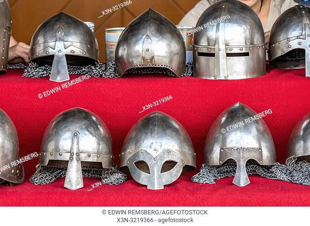 Old metal and chainmail helmets in ChÄ. ciny Royal Castle,. ChÄ. ciny Poland