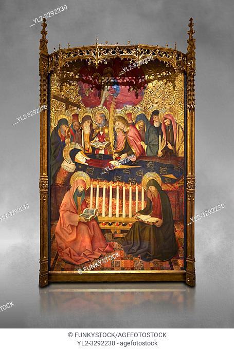 Gothic altarpiece of the Dormition of the Madonna (Dormicio de la Mare de Dieu) by Pere Garcia de Benavarri, circa 1460-1465, tempera and gold leaf on wood