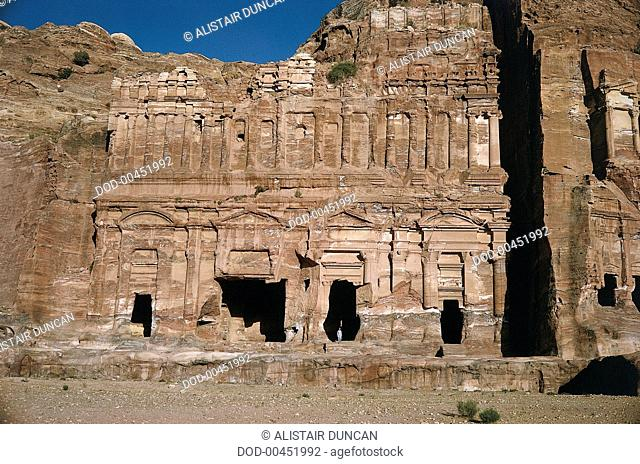 The Palace Tomb, a three-storey imitation of a Roman palace and one of the largest monuments in the Nabatean city of Petra