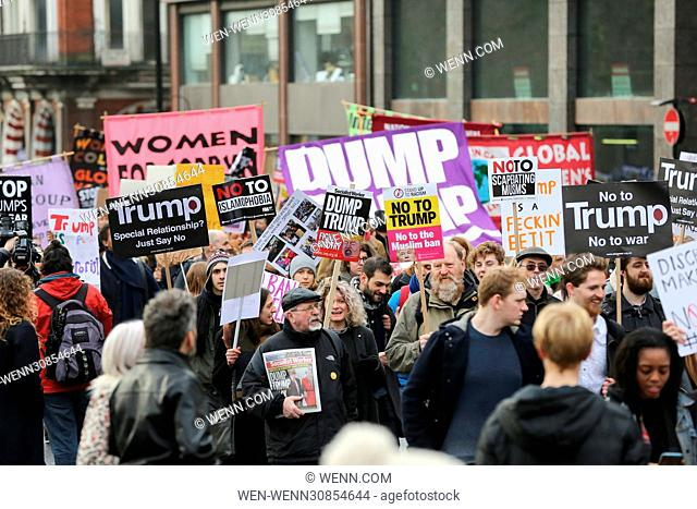 Protesters demonstrate against Donald Trump's Muslim ban at the US Embassy Featuring: Atmosphere Where: London, United Kingdom When: 04 Feb 2017 Credit: WENN