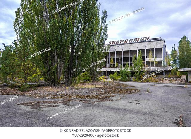 Palace of Culture Energetik in Pripyat ghost city of Chernobyl Nuclear Power Plant Zone of Alienation around nuclear reactor disaster in Ukraine