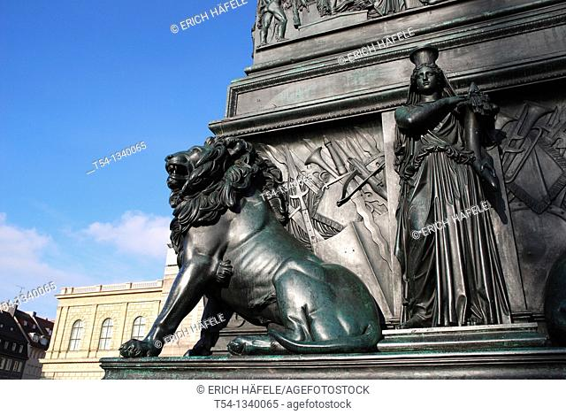Bavarian Lion at the Elector Max monument in front of the Bavarian State Opera in Munich
