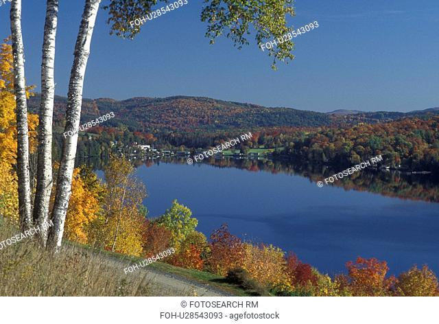 lake, fall, Barnet, VT, Vermont, Scenic view of the colorful foliage around Harveys Lake in the autumn