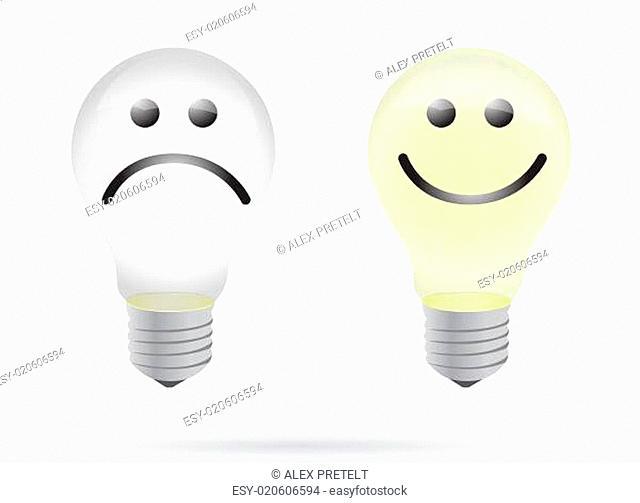 happy and bad lightbulb illustration design