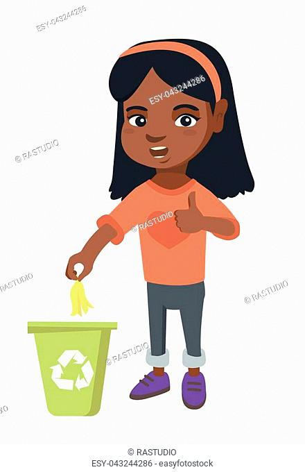 Little african girl throwing banana peel in recycling bin. Girl putting banana peel in bin with recycling sign and giving thumb up