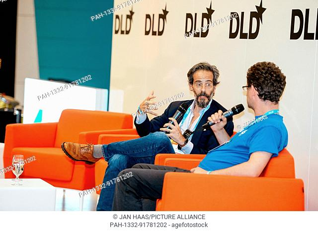 BAYREUTH/GERMANY - JUNE 21: Keith Boesky (Boesky & Company, l.) in conversation with Jochen Koubek (University of Bayreuth) on the stage during the DLD Campus...