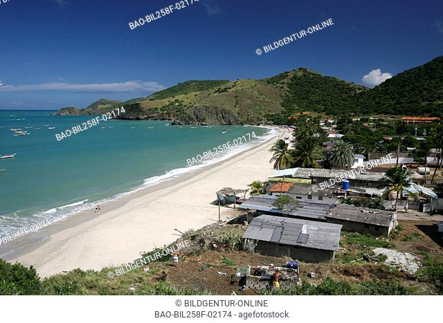 The beach and the fisherman village Manzanillo in the Caribbean coast of Pampatar on the island Margarita, Venezuela