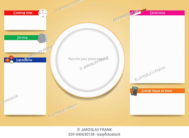 Cooking board vector with an empty plate in the middle ready for your text