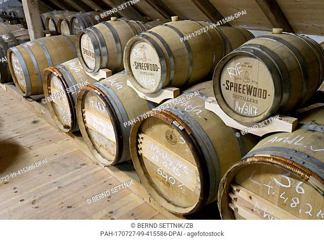 Barrels are stored at the storage of the Spreewood Distillers in Schlepzig, Germany, 26 July 2017. Since October 2016, the barkeepers from Berlin distill their...