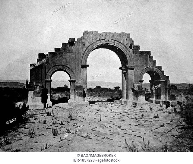 Early autotype of the ruins of Lambaesis, Algeria, historical photo, 1884