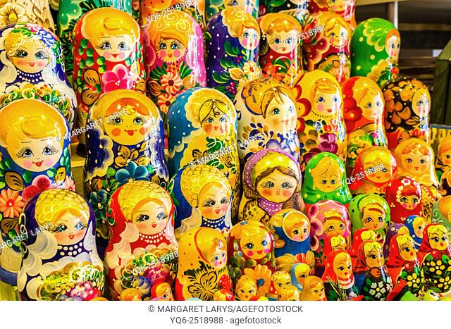 Traditional, folk, Russian dolls display in the souvenir shop in Krakow, Poland, Europe