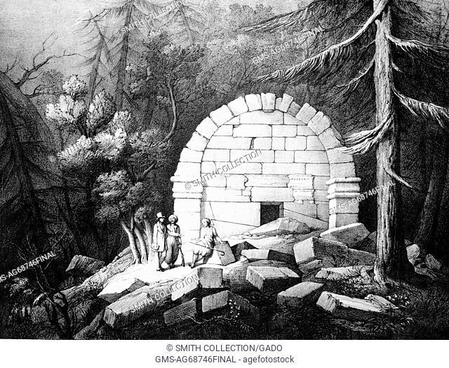 Print titled 'Sepulchral Vault near Affghan-Khiu [Avdan-Tevikiye]', depicting a vault construted of white stones, three men standing in front of it