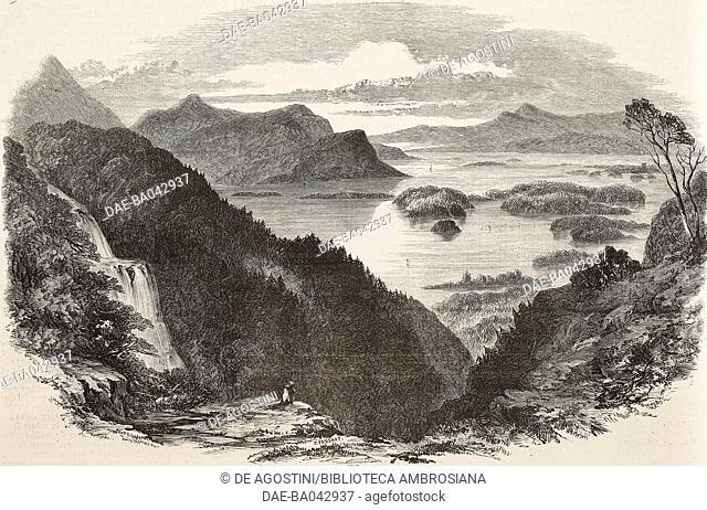 Turc lake and Lower lake, Killarney, Ireland, illustration from L'Illustration, Journal Universel, No 585, Volume XXIII, May 13, 1854