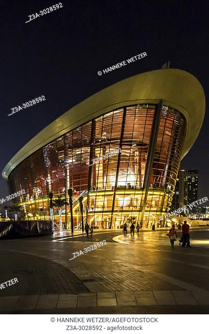 Exterior of the Dubai Opera at night, Dubai