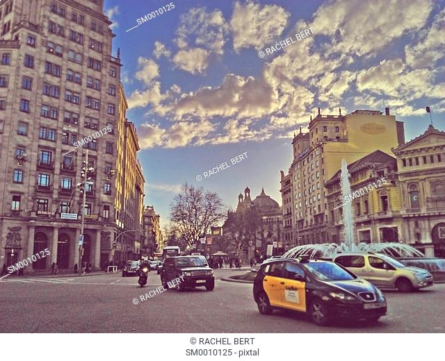 Gran Via intersection with Passeig de Gracia, Barcelona, Catalonia, Spain