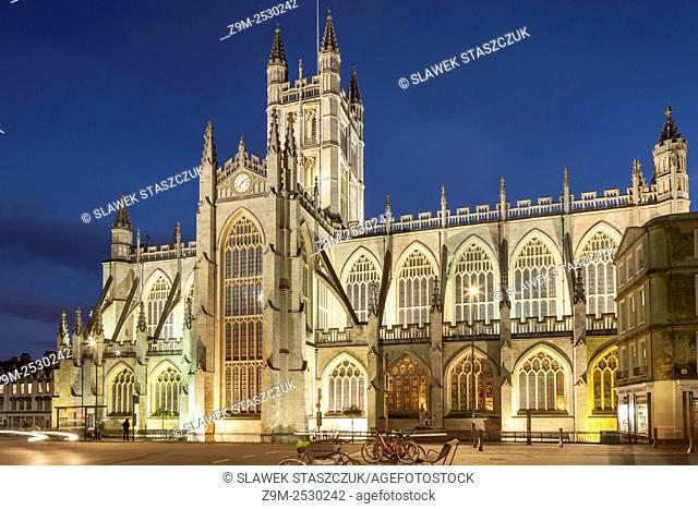 Evening at Bath Abbey, Somerset, England