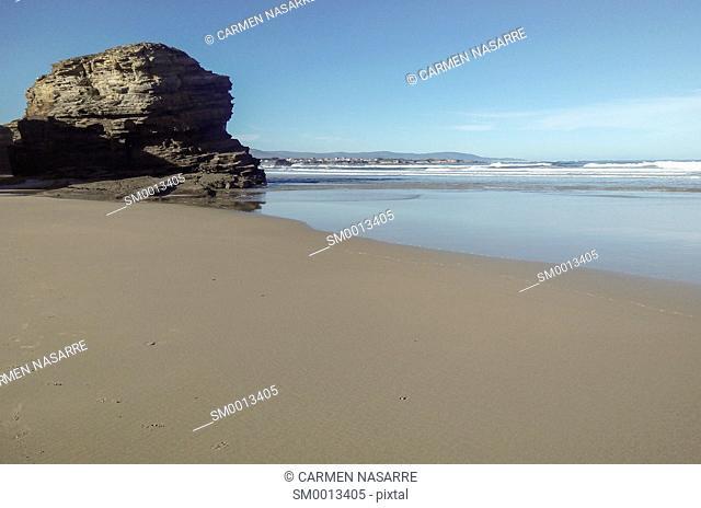 Las Catedrales beach at low tide, Lugo, Galicia