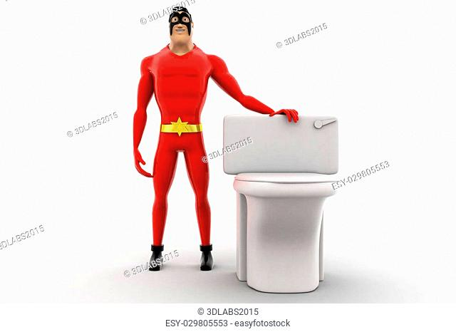 3d superhero with toilet seat concept on white background, front angle view