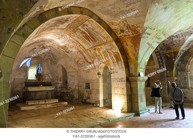 France, Indre (36), Gargilesse-Dampierre, Saint-Laurent et Notre-Dame de Gargilesse church, 13-14 centuries frescos in a crypt