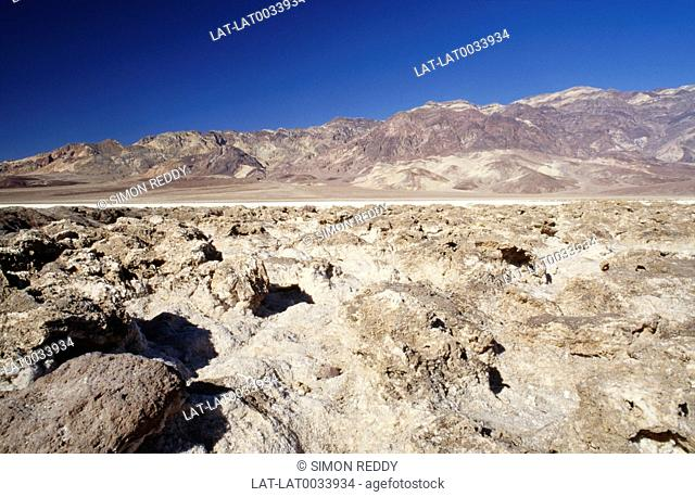 The Devil's Golf Course is a large salt pan in Death Valley National Park,with a rough surface formed of large salt crystals